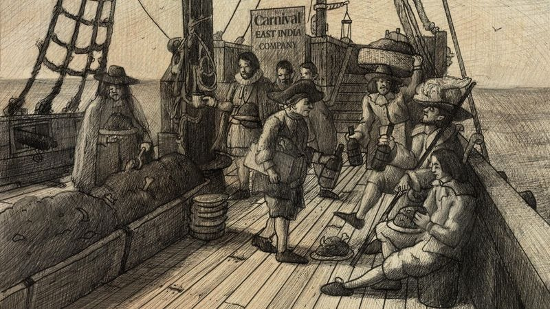 According to historical documents, those aboard the H.M.S. 'Sunshine' enjoyed regular entertainment options, such as pillorying blasphemers and nightly funerals.