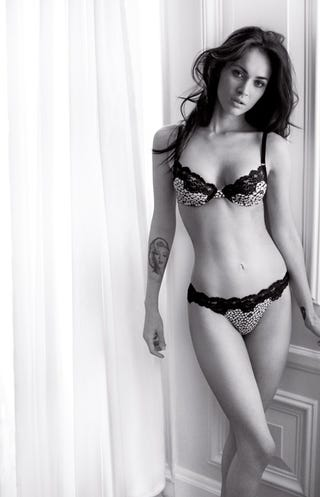 Illustration for article titled Megan Fox In Her Underwear Again; Crystal Renn Critiques Ignorant Designer