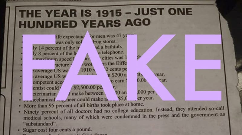 Illustration for article titled This Viral List About 1915 Is Full of Lies