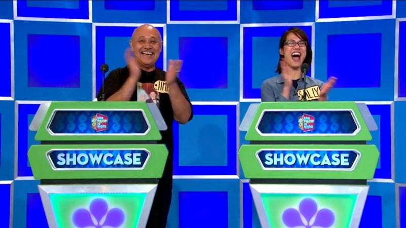 Two contestants are overwhelmed with joy during The Price Is Right's Showcase round—not the Showcase Showdown.