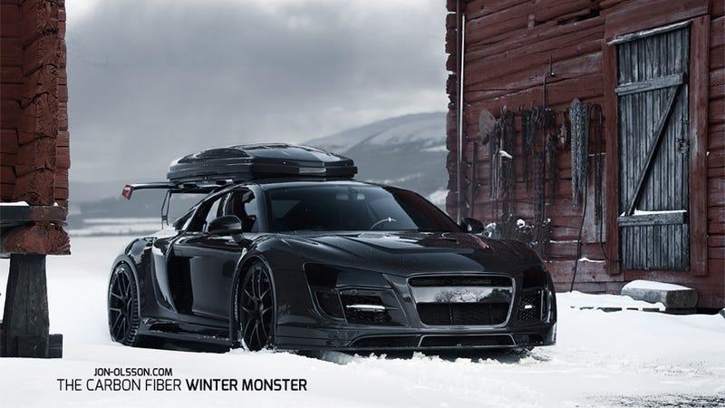 Illustration for article titled Jon Olsson's New Ski Lift Is A Black-On-Black-On-Black Audi R8