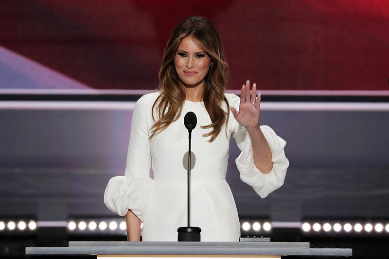 Melania Trump, wife of Republican presidential nominee Donald Trump, waves to the crowd after delivering a speech at the Republican National Convention on July 18, 2016, at the Quicken Loans Arena in Cleveland.Alex Wong/Getty Images