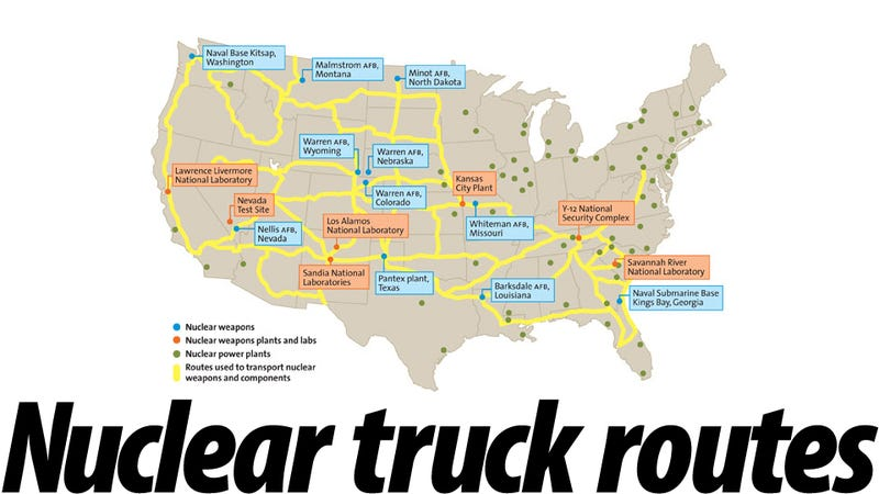 You Are Looking At The Map Of The Routes Followed By The Nuclear Trucks Plain Looking High Tech Trailers That Travel America S Busiest Highways Carrying