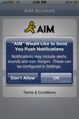 Illustration for article titled iPhone AIM and Beejive IM Apps With Push Notifications Are Live