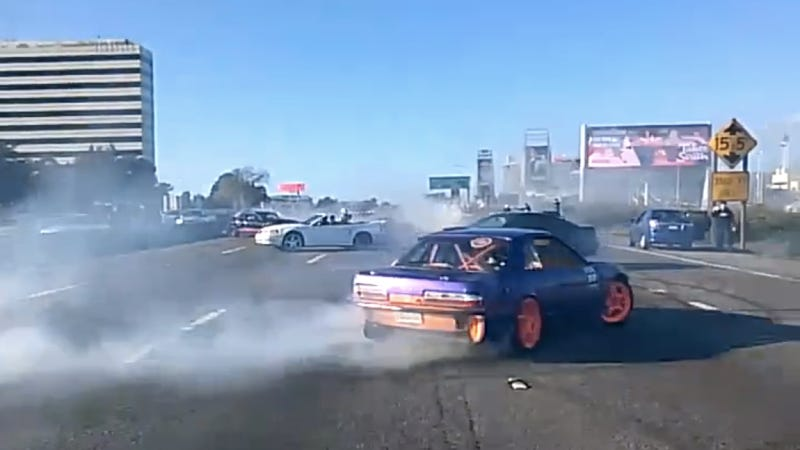 Illustration for article titled 'It Wasn't Me!' Says Owner Of Purple 240SX That Stopped Oakland Traffic For Donuts