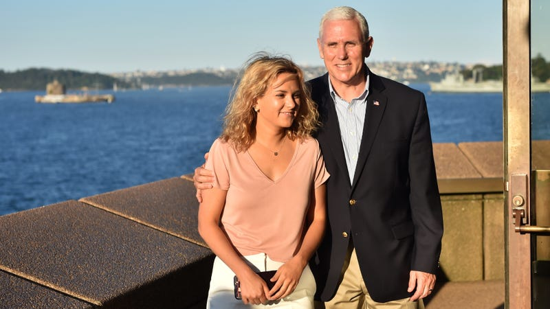 This extremely awkward photo of Charlotte and Mike Pence is the only one of the two of them together available on Getty Images, which is why you're seeing it everywhere.