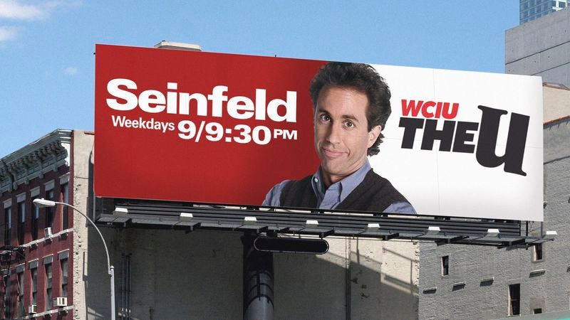 The billboard appears to suggest that comedian Jerry Seinfeld is the star of the show, and that the program may focus on his life in some way.