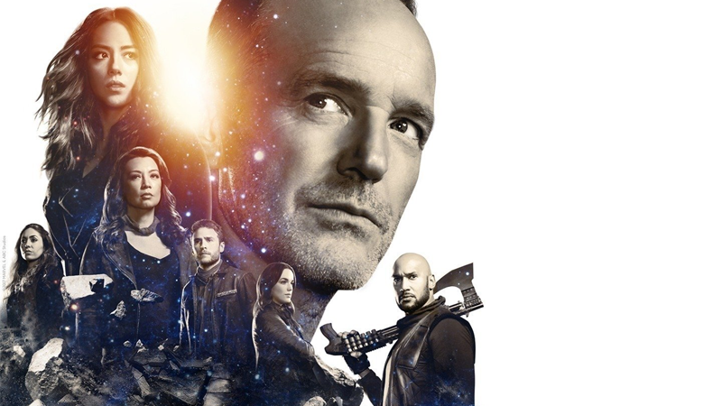 Banner art for Agents of SHIELD's fifth season featuring the main cast.