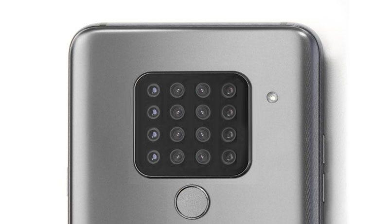 Fotomontaje de un terminal con 16 cámaras sobre la base del LG V40 ThinQ