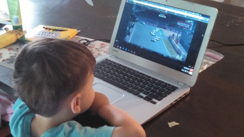 This is the son of our guy Tom McParland, staring intently at a broadcast of the 24 Hours of Le Mans. The kid has it figured out.