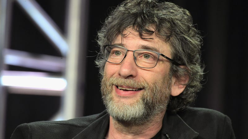 Neil Gaiman at Starz's Good Omens panel during the 2019 winter Television Critics Association tour.