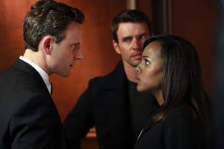 President Fitz Grant (Tony Goldwyn), Jake Ballard (Scott Foley) and Olivia Pope (Kerry Washington) in ScandalABC