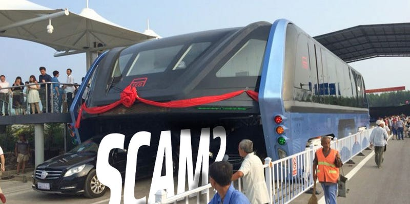 Illustration for article titled Is The Chinese Traffic-Straddling Bus A 'Scam'? It Looks Extremely Shoddy Up Close