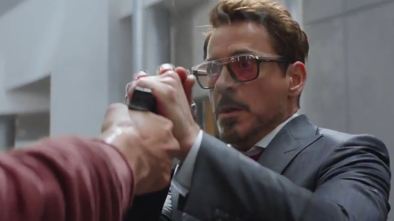 in captain america civil war tony stark uses a phone only