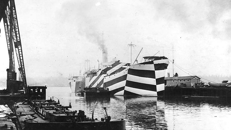 "USS West Mahomet painted in ""dazzle"" camouflage. (Image: US Navy)"