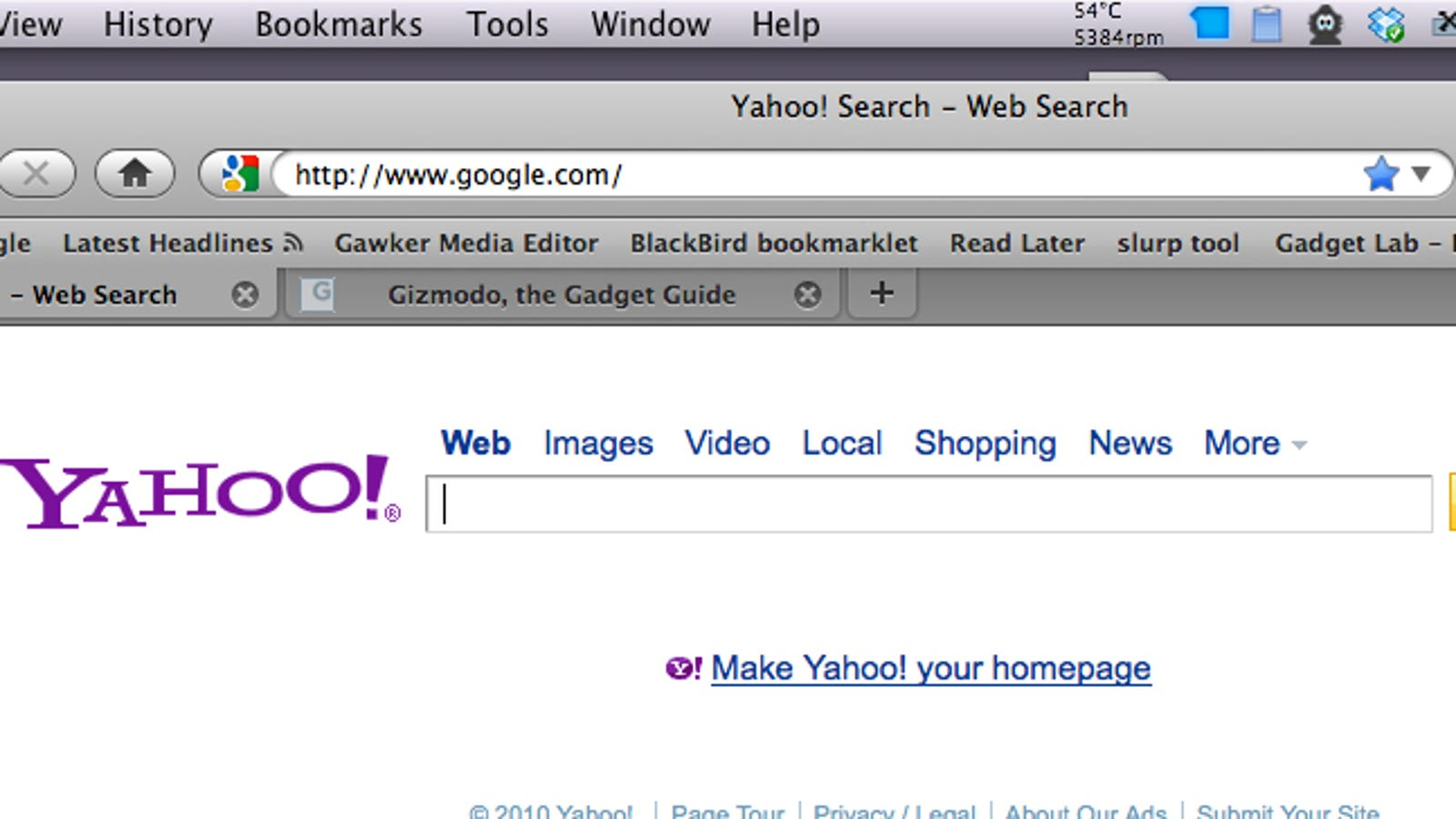 The Google Homepage Is Showing Me a Yahoo Search Box