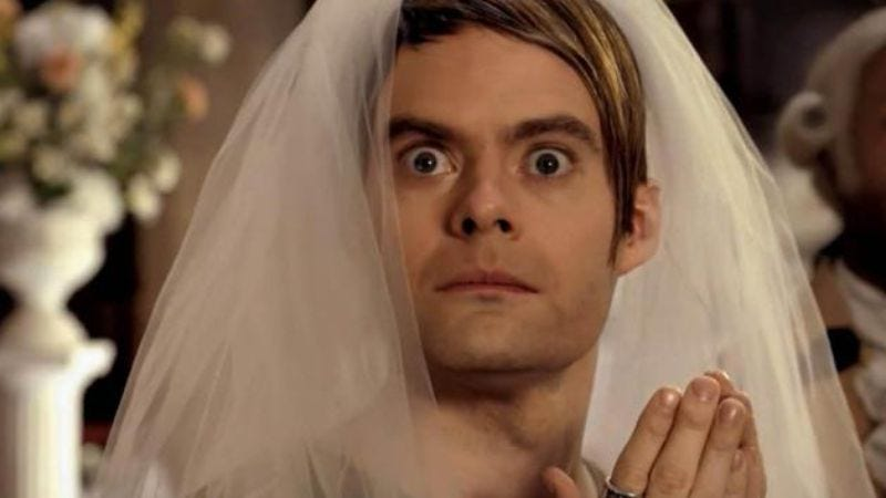 Illustration for article titled Commemorate Bill Hader's SNL departure with a bunch of gifs of Stefon's wedding