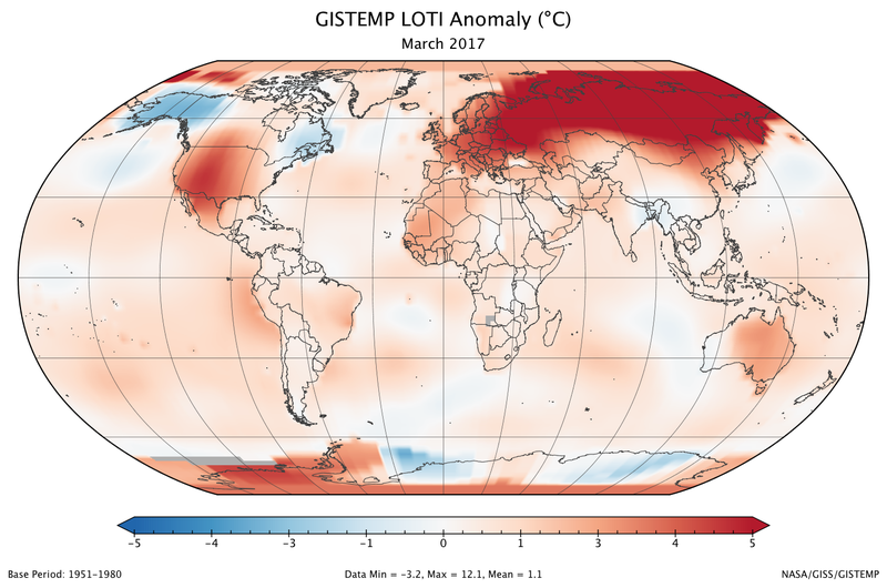 Global map of land and ocean temperature anomalies (departures from the mean) for March 2016. Image: NASA/GISS