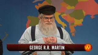 Illustration for article titled George R.R. Martin Swings by SNL to Talk About His Writer's Block