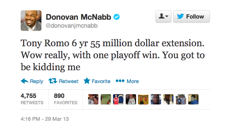 Illustration for article titled Donovan McNabb Is Mad About Tony Romo's New Contract