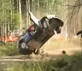 Illustration for article titled Mikko Hirvonen Crashes At Rally Finland, Kills Car Deader Than Hell
