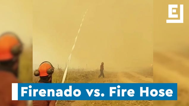 Canadian Firenado Steals Firefighters' Hose, Hits Them With Burning Logs