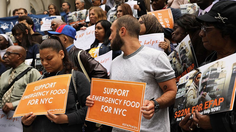 Advocates for the poor and those requiring emergency food assistance join local politicians at City Hall to urge Mayor Bill De Blasio to include $22 million in baselined food funding for the Emergency Food Assistance Program (EFAP).  With President Donald' Trump's proposed budget cuts to food stamps and other programs for the poor, activists and politicians say more city money is needed to fund these programs.