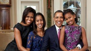 Michelle Obama, Malia Obama, President Barack Obama and Sasha Obama in the Oval Office Dec. 11, 2011Pete Souza/White House via Getty Images