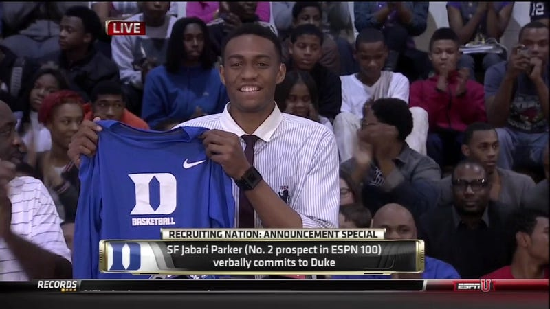 Illustration for article titled Jabari Parker, The Nation's No. 2 Basketball Recruit, Committed To Duke For The Dukiest Reasons Possible