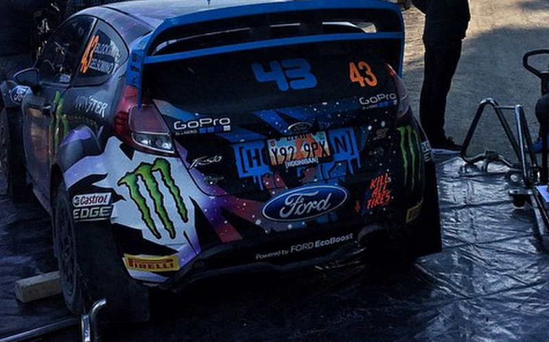 Illustration for article titled Why is Ken Block using a salvage titled Fiesta's license plate?