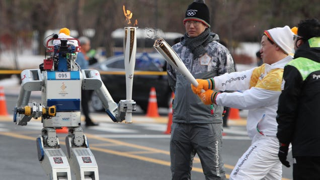 This Robot Just Carried the Pyeongchang 2018 Olympics Torch as It Cut Through a Wall