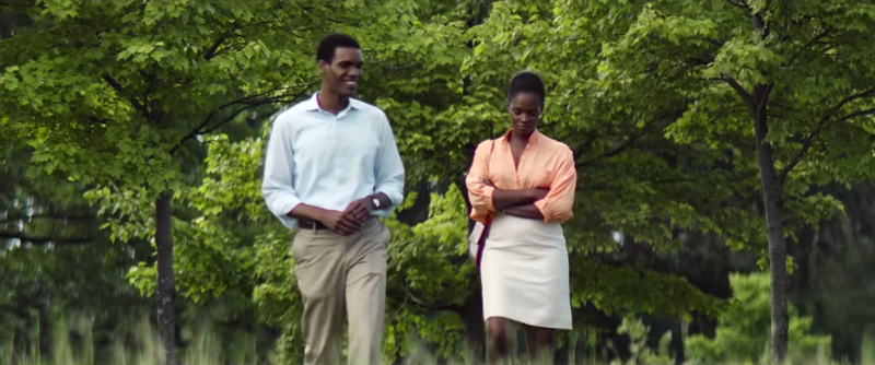Barack (Parker Sawyers) and Michelle Obama (Tika Sumpter) in Southside With YouYouTube screenshot