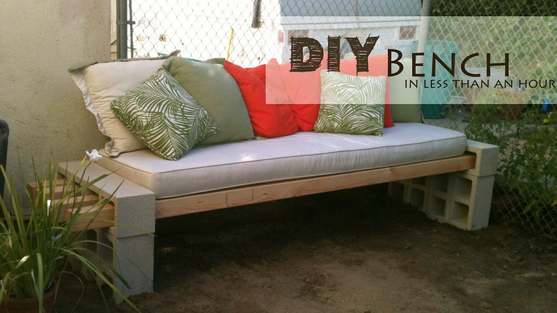 With just a few cinder blocks and lumber, you can make an outdoor patio  bench of your desired length and height. Plus, it looks good and takes just  an hour ...