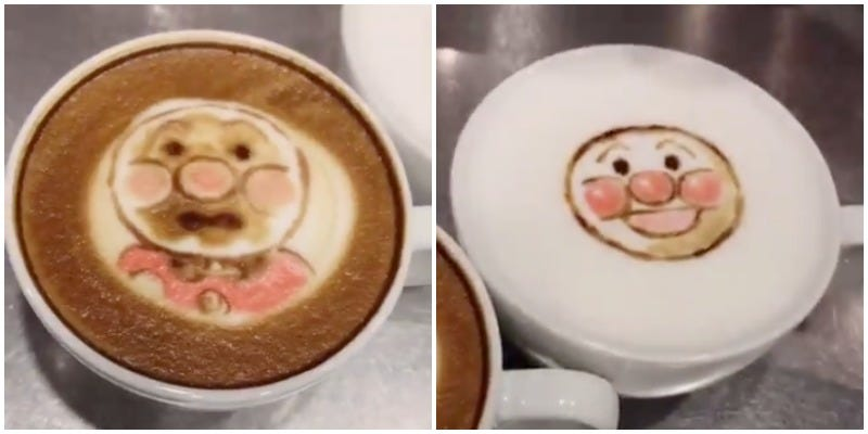 Illustration for article titled Iconic Japanese Anime Character Gets Creative Latte Art