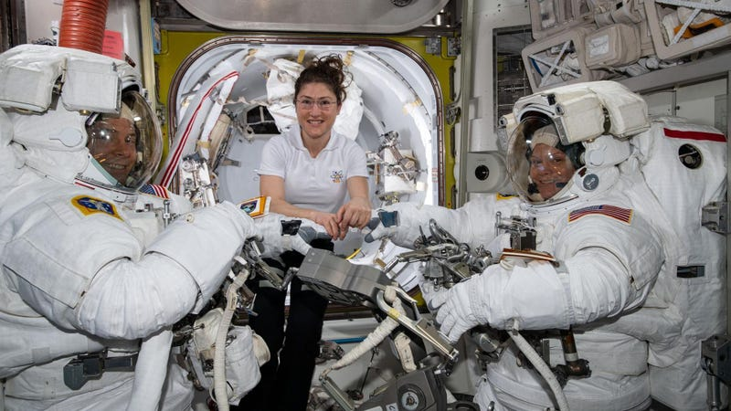 From left to right: NASA astronauts Nick Hague, Christina Koch, and Anne McClain. The photo was taken on Friday March 22 just prior to an ISS spacewalk.