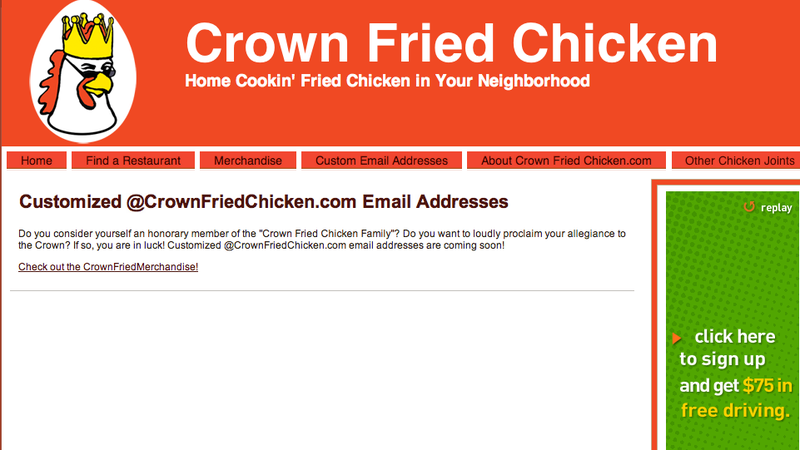 Illustration for article titled [YourName]@ CrownFriedChicken.com Could Actually Be Your New Email Address (Updated)