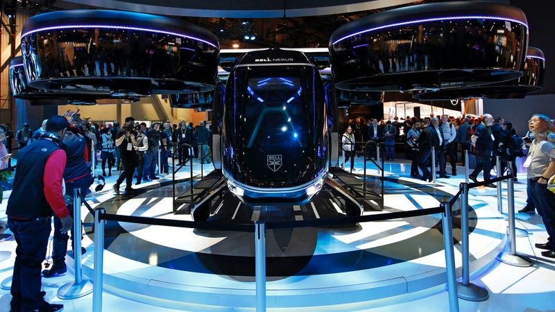 The Bell Nexus hybrid electric air taxi concept is on display at the Bell booth at CES on January 8, 2019, in Las Vegas.