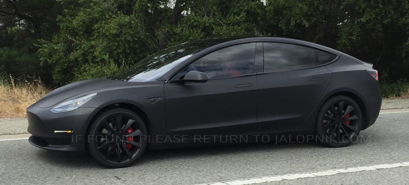 Illustration for article titled This Tesla Model 3 Prototype Spied On The Road Looks Spectacularly Good