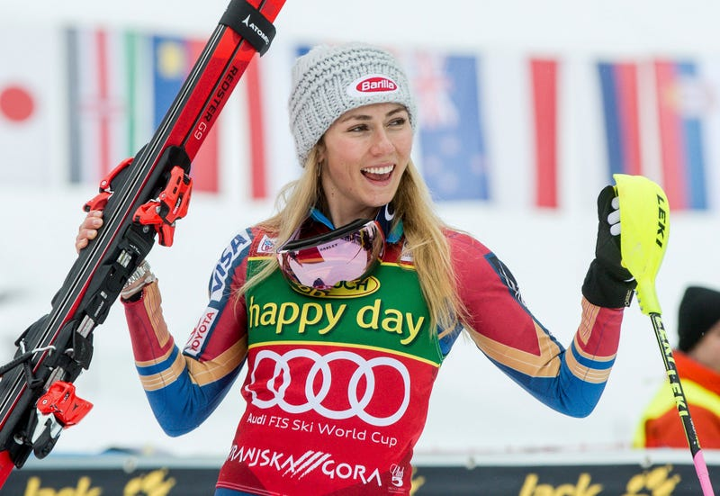 Mikaela Shiffrin celebrates a double victory at a World Cup event in Kranjska Gora, Slovenia. Photo by Erich Spiess/AP Photo