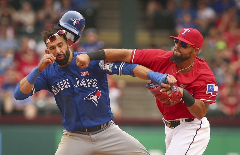 """Illustration for article titled Blue Jays Call Rangers """"Gutless"""" And """"Cowardly"""" After Excellent Brawl"""
