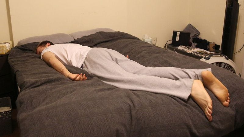 Illustration for article titled Warm, Syrupy Pleasure Coursing Through Man's Veins After Big Hit Of Mattress