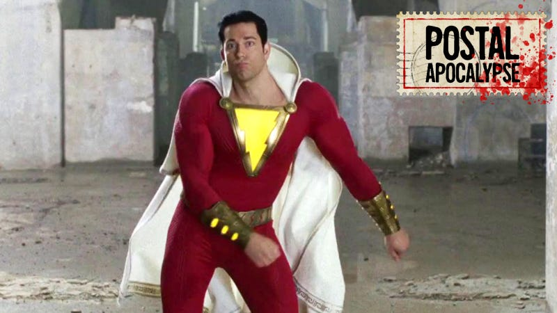 Shazam (Zachary Levi) does a happy dance to celebrate his film actually getting made.