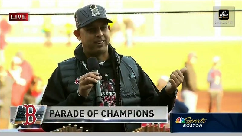 "Illustration for article titled Red Sox Manager Alex Cora At Victory Parade: ""We Scored 16 At Yankee Stadium, Suck On It"""
