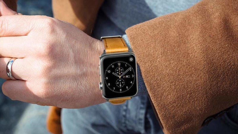 Leather Apple Watch Bands | $7 | Amazon | Promo code QUANBAO5. Should work on all sizes and colors.