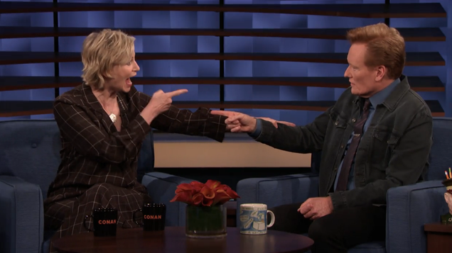 Jane Lynch tells Conan why Hollywood Game Night cut back the booze, cueing celebrity speculation
