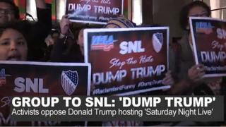 "Hispanic groups rally to 'Dump Trump"" as host of Saturday Night LiveNBC News screenshot"