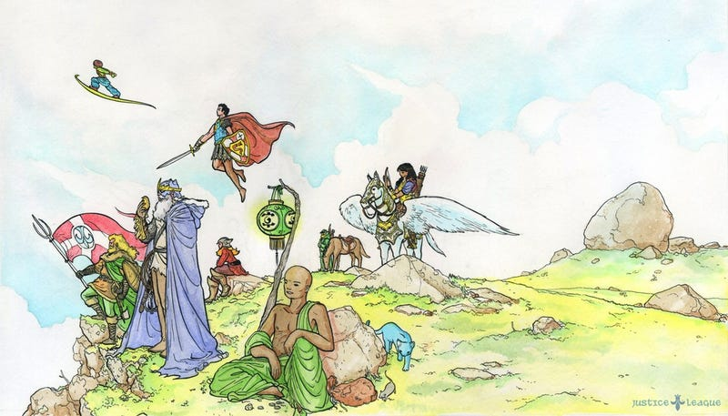 Illustration for article titled The Justice League gets medieval in the Year 1000