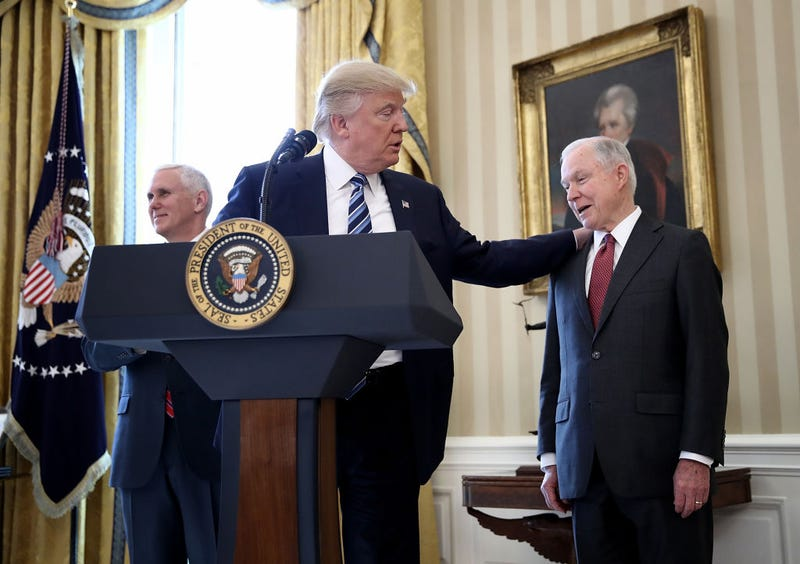 Vice President Mike Pence, President Donald Trump and Attorney General Jeff Sessions (Win McNamee/Getty Images)