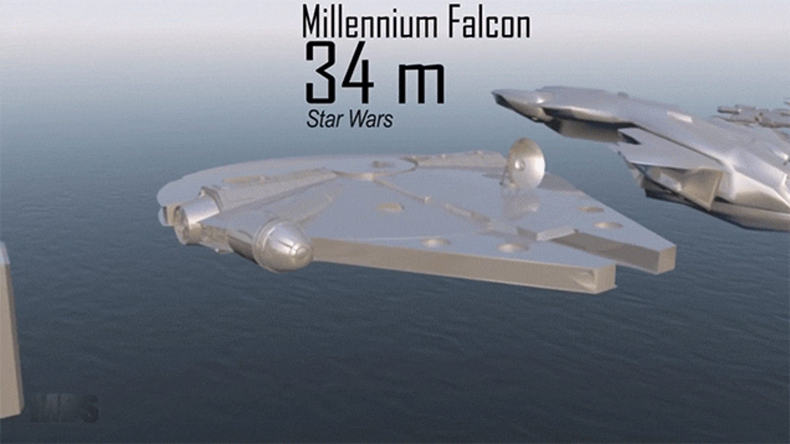 Neat size comparison video compares the size of spaceships from different movies