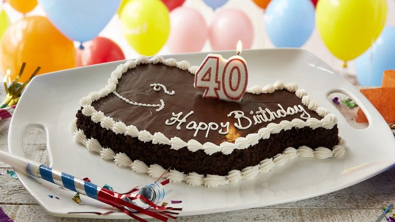 Lets All Wish This Ice Cream Cake A Happy 40th Birthday